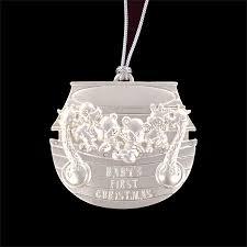 personalized silver baby s ornament w swarovski