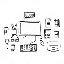 Schreibtisch Mit Computer Mit Einem Computer Oder Arbeitsplatz Im Büro Von Hand Doodle Stil