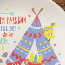 baby birth plates personalised teepee baby birth plate by ethel and co