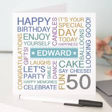 personalised 50th birthday card by a type of design