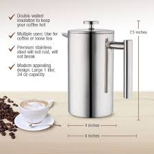 amazon com mira 34 oz double wall all stainless steel french