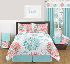 modern coral and turquoise floral teens full queen bedding