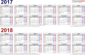 two year calendars for 2017 u0026 2018 uk for excel
