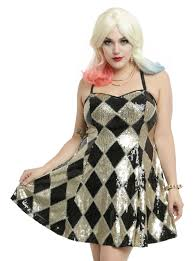 harley quinn costume spirit halloween dc comics squad harley quinn sequin dress plus size