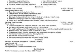 Sample Resume Patient Care Assistant by Personal Care Assistant Resume Sample Reentrycorps