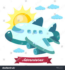 illustration airplane flying sky clouds bright stock vector