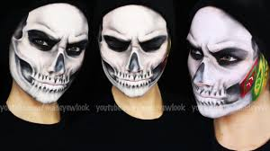 skeleton halloween face chicago blackhawks skull makeup tutorial youtube