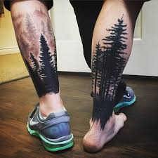 collection of 25 right back leg forest tree tattoos