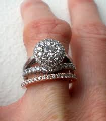 Stacked Wedding Rings by Pics Please Of Stacked Wedding Bands With Halo Ering Weddingbee