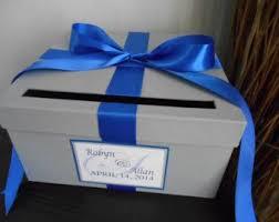 royal blue ribbon custom wedding card box with silver gray cobalt royal blue ribbon