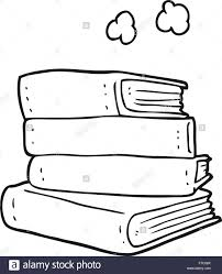 freehand drawn black and white cartoon stack of books stock vector