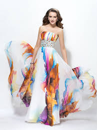 contrast color strapless beading a line floor length prom dress