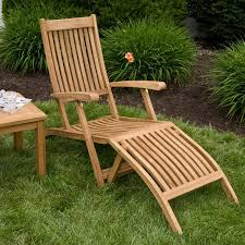 Outdoor Lounge Furniture Wood Holley Teak Outdoor Folding Steamer Lounge Chair Outdoor