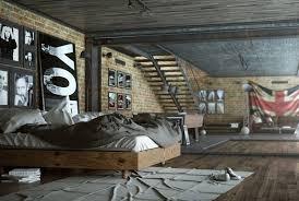 chambre style loft chambre style industriel avec parement en brique et poutrelles