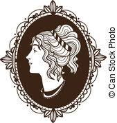 vector clipart of vignette frame with woman profile sketch