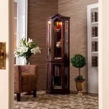 curio cabinet miller jamestown cherry wood corner curio cabinet
