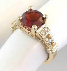 garnet engagement ring garnet rings in 14k yellow gold with accents mjs gr 8029