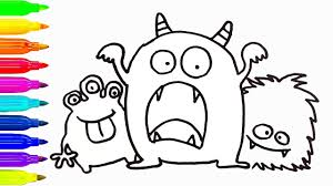cute monsters drawing and coloring for kids how to draw learn