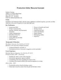 Correspondent Resume Example Associate Editor Cover Letter