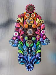 Jewish Home Decor Judaica Art Embellished Hamsa Jewish Wall Art Decor Hand Crafted