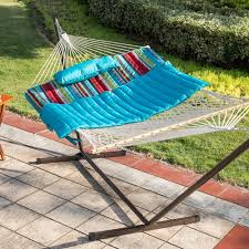 cotton hammock with 12 feet steel stand and pillow combo