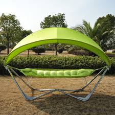 outsunny double hammock swing garden outdoor frame sun lounger bed