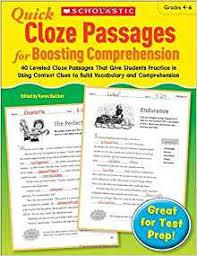 amazon com quick cloze passages for boosting comprehension 4 6