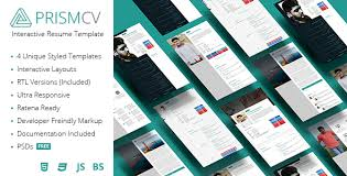 prismcv u2013 stylish u0026 interactive resume cv template resume cv