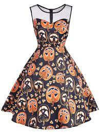 vintage dresses 2xl mesh yoke halloween pumpkin mini dress gamiss