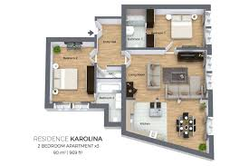 floorplan of a two bedroom apartment type 3 in residence karolina