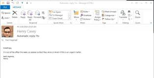 how to set an out of office reply in outlook 2016 and prior