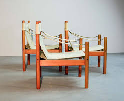Esszimmerst Le Sch Er Wohnen Skandinavische Leinen Safari Stühle 1960er 3er Set Bei Pamono Kaufen