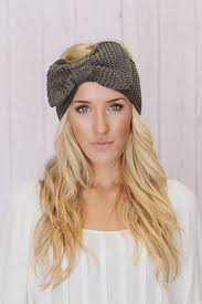 women s headbands knitted bow headband oversized bow ear warmer in gray women s