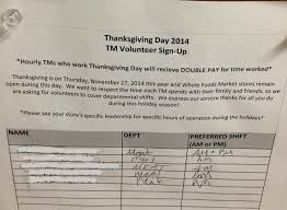 Whole Foods Market Thanksgiving Want Thanksgiving Off Follow These Whole Foods Workers U0027 Example