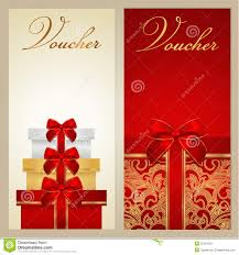 printable christmas gift vouchers voucher gift certificate coupon boxes bow stock vector