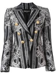 balmain leather jacket polyvore grey and black cotton blend