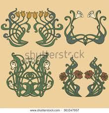 nouveau deco floral ornaments stock vector 361547957