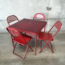 Vintage Outdoor Folding Chairs Vintage Red Metal Folding Card Table And 4 Chairs U2013 Urbanamericana