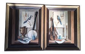 Trompe L Oeil Wallpaper by Pair Of Midcentury Trompe L U0027oeil Paint By Numbers Birds Books
