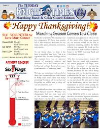 Six Flags Payments Tuesday Knight Times Issue 14 111516 By Bullard Marching Band