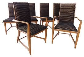 schwartz table set of six dining chairs by harold m schwartz for romweber modernism