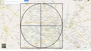 draw a radius on a map if i were to draw a circle to approximately cover the entire ncr