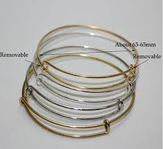 bangle charm bracelet diy images Expandable wire bangle bracelet adjustable gold silver tone charms jpg