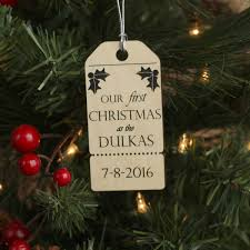 our first christmas ornament tag design with last name and date