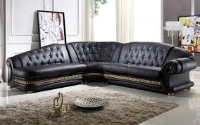 Black Leather Sofa Modern Living Room Dazzling Corner Black Leather Sofa Design With