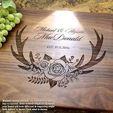 engraved cutting board wedding gift deer antlers and flowers personalized engraved cutting