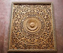 large carved wooden wall panel siam sawadee