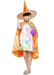orange kids witch wizard cloak hat set shinng stars pattern