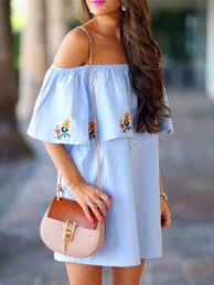 ruffled shift dress off the shoulder women u0027s light blue swing