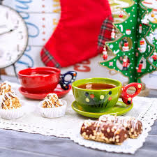 christmas tea party christmas tea party with cakes stock illustration illustration